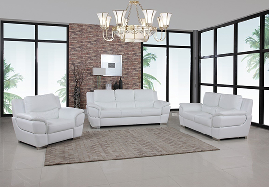 Global United 4572 Leather Match 3PC Sofa Set in White color.