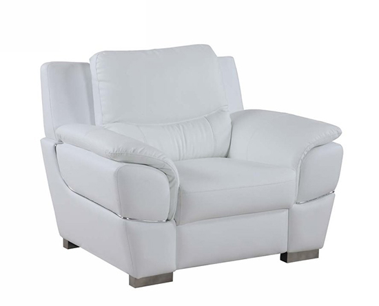 Global United 4572 - Leather Match Chair in White color.