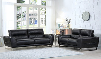 Global United Furniture 485 Genuine Italian Leather 2PC Sofa Set in Black color.