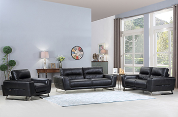 Global United Furniture 485 Genuine Italian Leather 3PC Sofa Set in Black color.