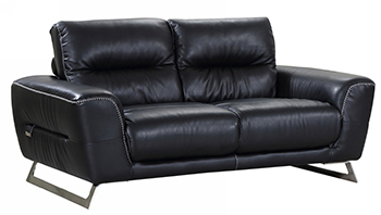 Global United 485 - Genuine Italian Leather Loveseat in Black color.