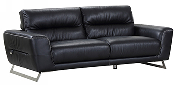 Global United 485 - Genuine Italian Leather Sofa in Black color.