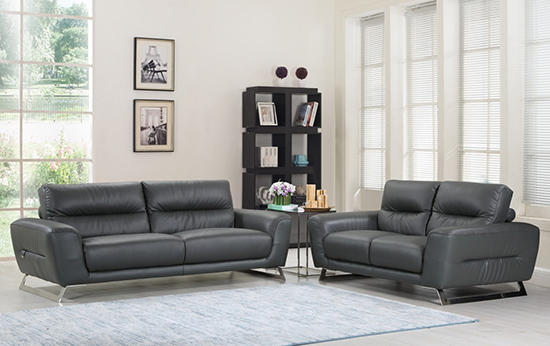 Global United Furniture 485 Genuine Italian Leather 2PC Sofa Set in Dark Gray color.