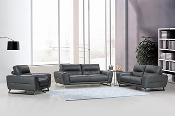 Global United Furniture 485 Genuine Italian Leather 3PC Sofa Set in Dark Gray color.