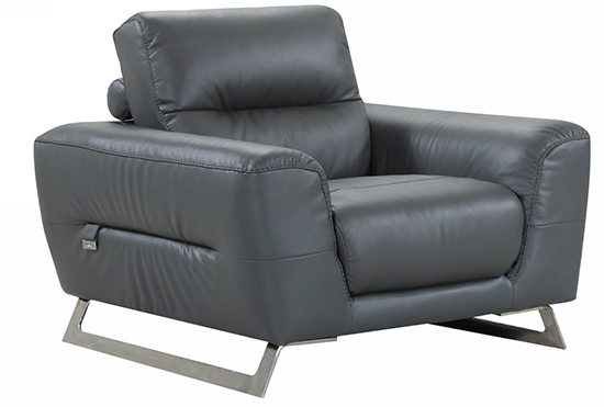 Global United 485 - Genuine Italian Leather Chair in Dark Gray color.