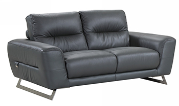 Global United 485 - Genuine Italian Leather Loveseat in Dark Gray color.