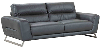 Global United 485 - Genuine Italian Leather Sofa in Dark Gray color.