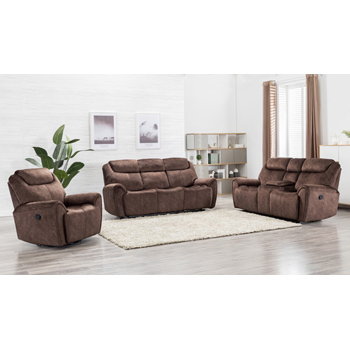 Global United Furniture 5008 Brown Velvet Fabric Sofa Set.