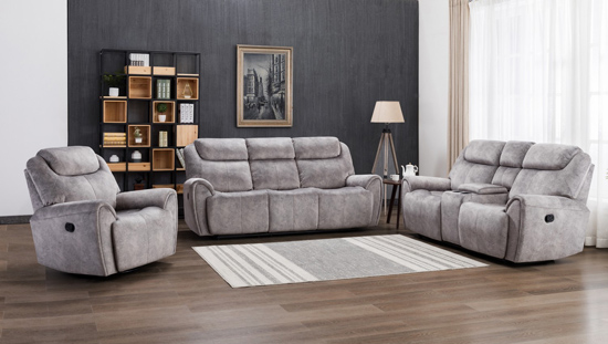 Global United Furniture 5008 Gray Velvet Fabric Sofa Set.