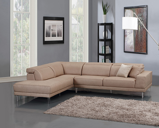 Global United 632 - Microfiber LAF Sectional in Beige Color.