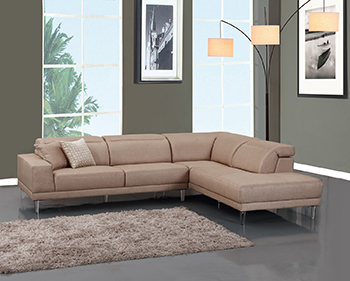 Global United 632 - Microfiber RAF Sectional in Beige Color.