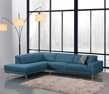Global United 632 - Microfiber LAF Sectional in Blue Color.