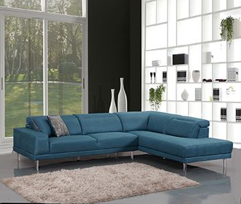 Global United 632 - Microfiber RAF Sectional in Blue Color.