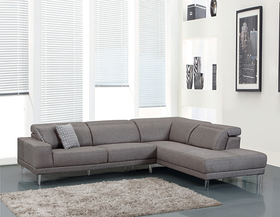 Global United 632 - Microfiber RAF Sectional in Gray Color.