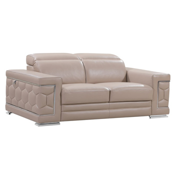 Global United 692 - Beige Loveseat Genuine Italian Leather Sofa.