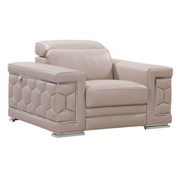 Global United 692 - Genuine Italian Leather Chair in Beige color.