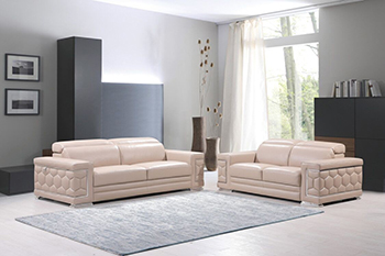 Global United Furniture 692 Genuine Italian Leather 2PC Sofa Set in Beige color.