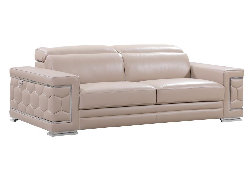 Global United 692 Genuine Italian Leather Sofa In Beige Color