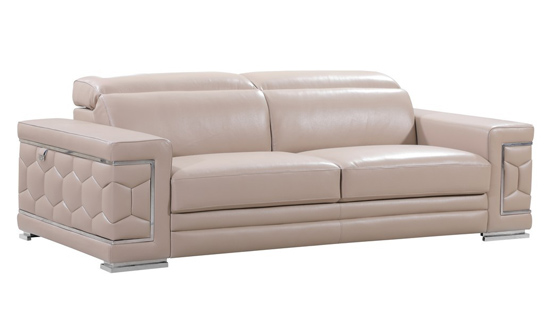 Global United 692 - Beige Genuine Italian Leather Sofa. 692-BEIGE-S