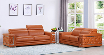 Global United Furniture 692 Genuine Italian Leather 2PC Sofa Set in Camel color.