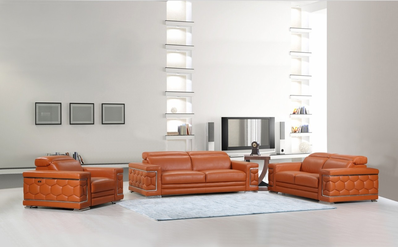 - Global United Furniture 692 Genuine Italian Leather 3PC Sofa Set In
