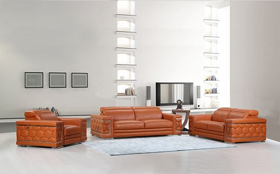 Global United Furniture 692 Genuine Italian Leather 3PC Sofa Set in Camel color.