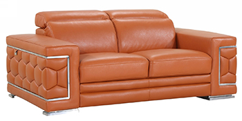 Global United 692 - Genuine Italian Leather Loveseat in Camel color.