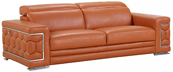 Global United 692 - Genuine Italian Leather Sofa in Camel color.
