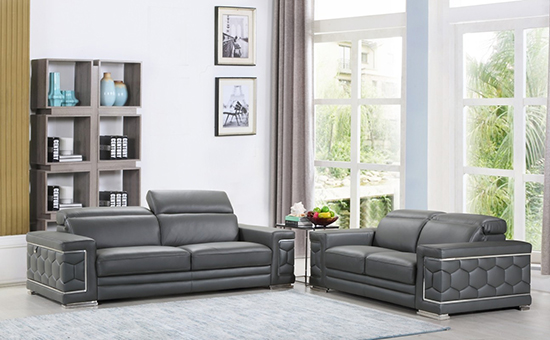 Global United Furniture 692 Genuine Italian Leather 2PC Sofa Set in Dark Gray color.