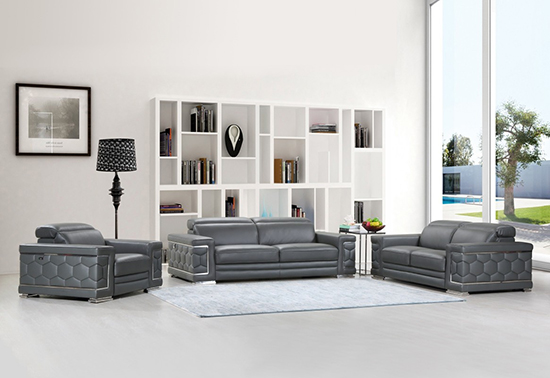 Global United Furniture 692 Genuine Italian Leather 3PC Sofa Set in Dark Gray color.