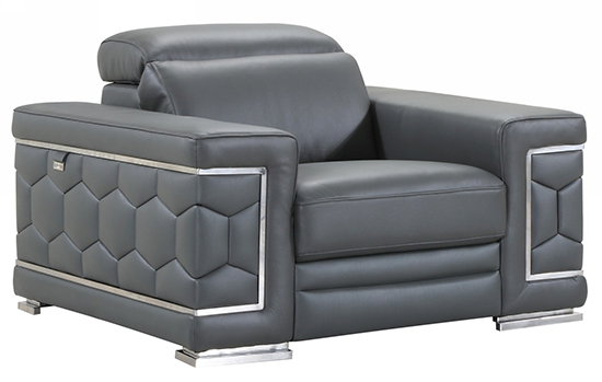 Global United 692 - Genuine Italian Leather Chair in Dark Gray color.