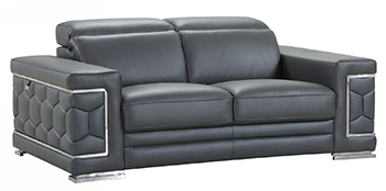 Global United 692 - Genuine Italian Leather Loveseat in Dark Gray color.
