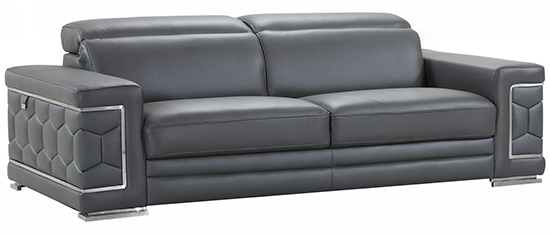 Global United 692 - Genuine Italian Leather Sofa in Dark Gray color.