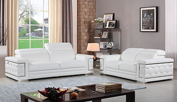 Global United Furniture 692 Genuine Italian Leather 2PC Sofa Set in White color.