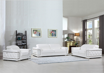 Global United Furniture 692 Genuine Italian Leather 3PC Sofa Set in White color.