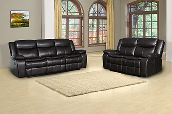 Global United 6967 - Leather Air 2PC Sofa Set in Brown color.