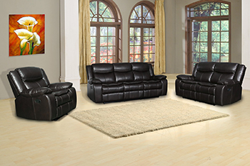 Global United 6967 - Leather Air 3PC Sofa Set in Brown color.