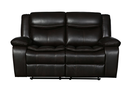 Global United 6967 - Leather Air Loveseat in Brown color.