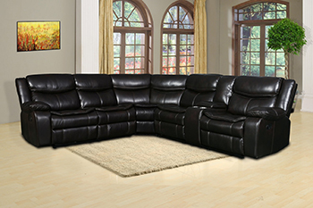 Global United 6967 Brown Leather Air Reclining Sectional.