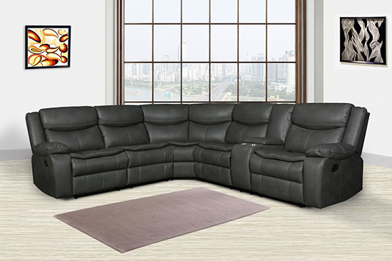 Global United 6967 Gray Leather Air Reclining Sectional.