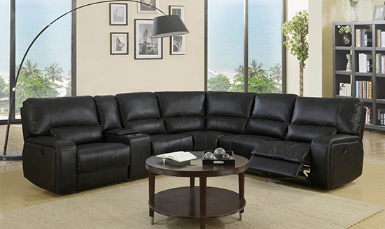 Global United 7096 - Leather Air Power Recliners Sectional in Black Color.