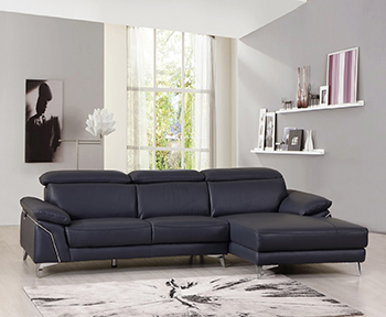 Global United 727 - Genuine Italian Leather Sectional in Blue color.