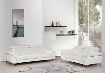 Global United 727- Genuine Italian Leather 2PC Sofa Set in White color.