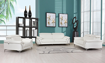 Global United 727- Genuine Italian Leather 3PC Sofa Set in White color.