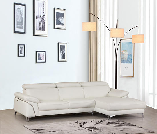 Global United 727 - Genuine Italian Leather Sectional in White color.