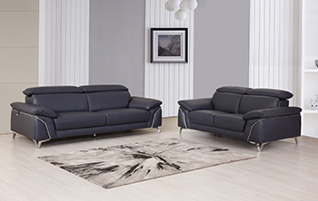 Global United 727- Genuine Italian Leather 2PC Sofa Set in Navy color.