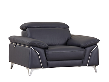 Global United 727 - Genuine Italian Leather Chair in Navy color.