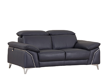 Global United 727 - Genuine Italian Leather Loveseat in Navy color.
