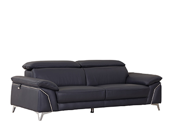Global United 727 - Genuine Italian Leather Sofa in Navy color.
