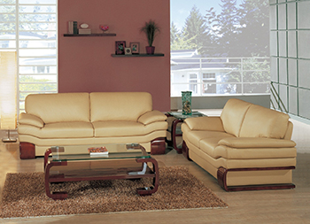 Global United Furniture 728 Leather Match 2PC Sofa Set in Beige color.